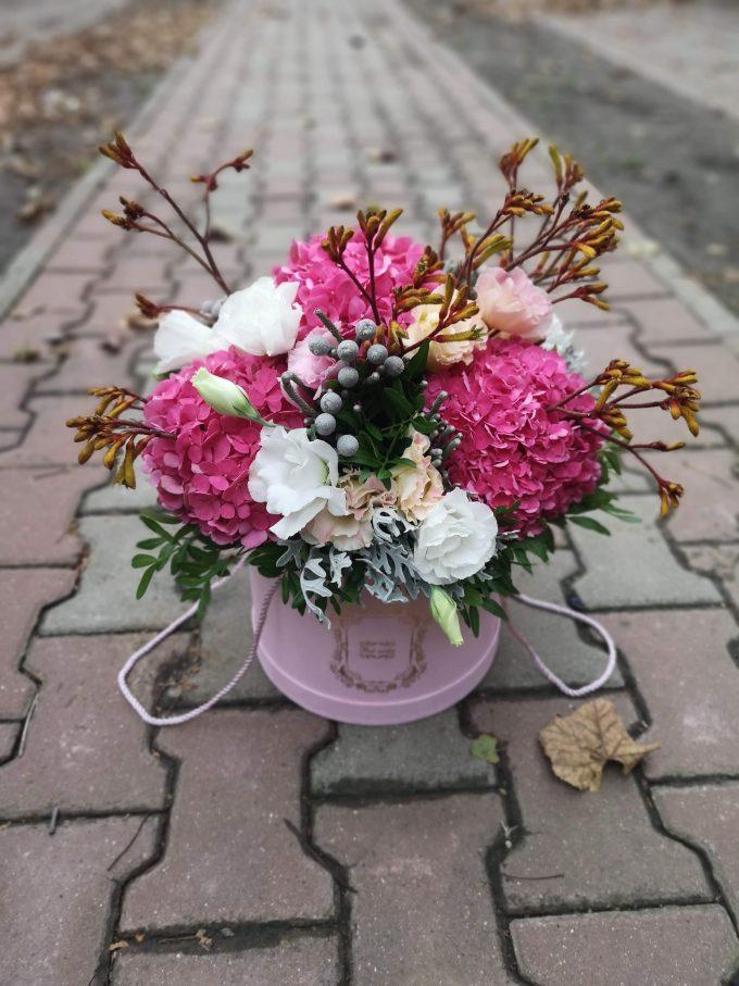 Aranjament flori naturale în cutie